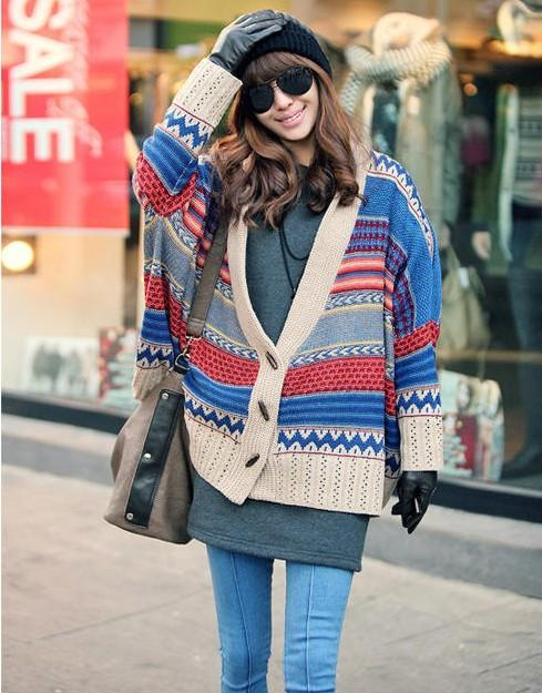 Chic Womens Bohemian Casual Tribal Oversized Knit Bat Sleeve Sweater Cardigan from Parisienne on Storenvy
