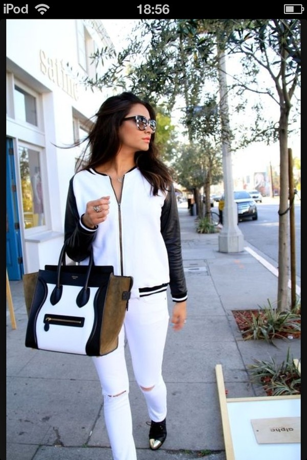 bag shay mitchell jacket jumpsuit