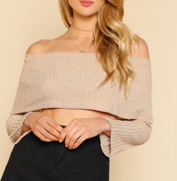 blouse nude sweater crop cropped girly off the shoulder off the shoulder sweater cropped sweater fold-over