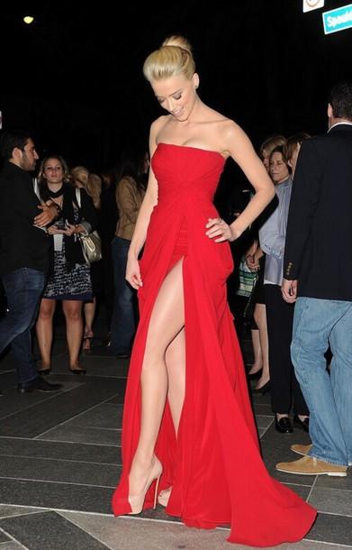 dress pattern red dress red carpet gown evening dress red amber heard long red gown red long prom slit nude  heels