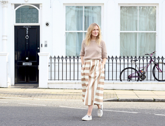blame it on fashion blogger striped skirt midi skirt jumper beige vans