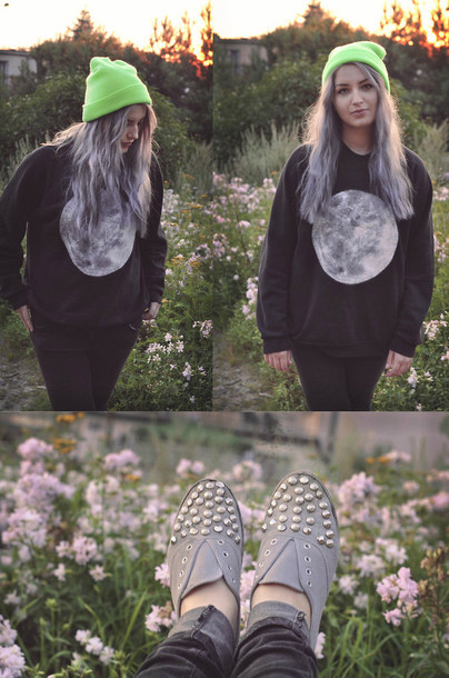sweater moon knitwear black jumper pull