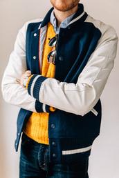 stay classic,blogger,baseball jacket,mustard,mens sweater,jacket,sweater,shirt,jeans,sunglasses,jewels,mens baseball jacket,mens cable knit jumper,mustard sweater