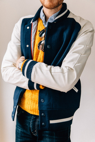 stay classic blogger baseball jacket mustard mens sweater jacket sweater shirt jeans sunglasses jewels mens baseball jacket mens cable knit jumper mustard sweater