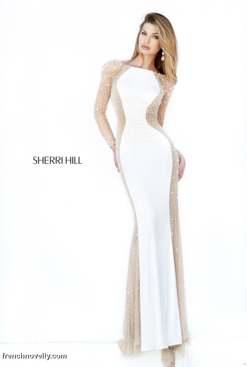 Sherri Hill 32096 Long Sleeve Sheer Gown