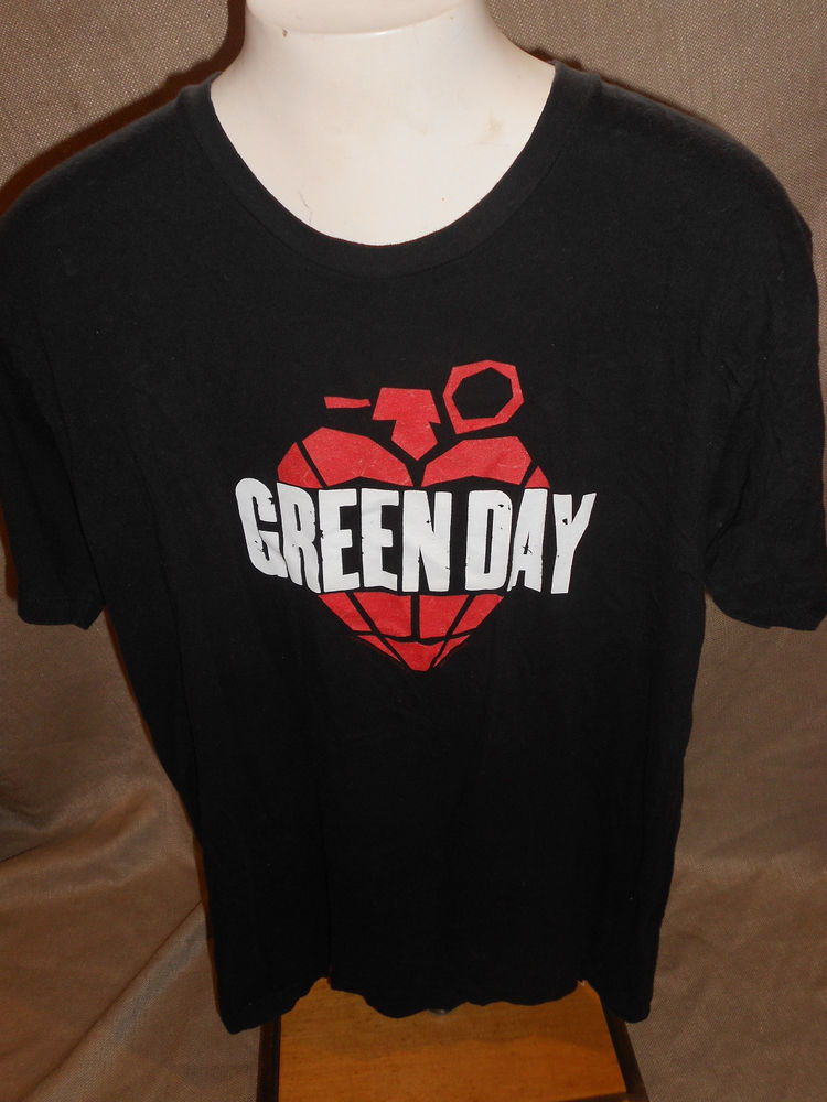 Green day heart grenade black t shirt size m