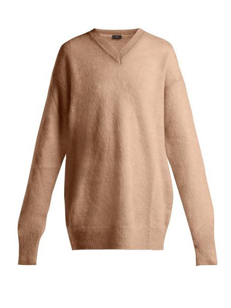 Joseph - V Neck Brushed Mohair Sweater - Womens - Beige