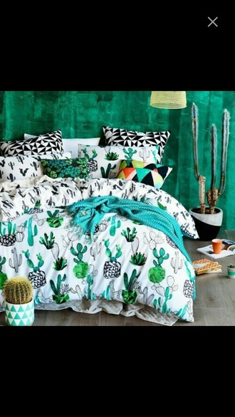 home accessory bedroom room bed cactus cactus print cactuses tumblr bedroom bedding hipster