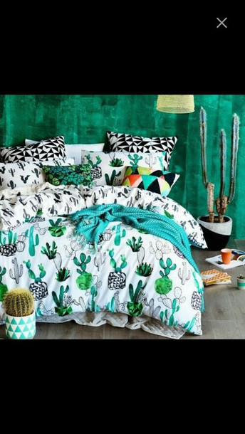 Home Accessory Bedroom Room Bed Cactus Print Cactuses Tumblr Bedding Hipster Wheretoget