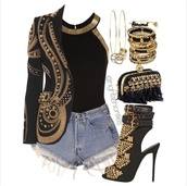 jacket,gold,bag,top,jewels,shoes,cardigan,embellished jacket,studded jacket,black and gold