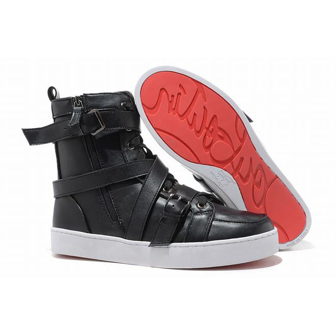 Christian Louboutin Spacer Flat High Top Men Sneakers Leather Black