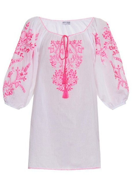 Juliet Dunn embroidered cotton white pink top
