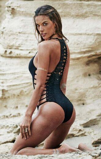 swimwear beach alessandra ambrosio summer one piece swimsuit black swimwear
