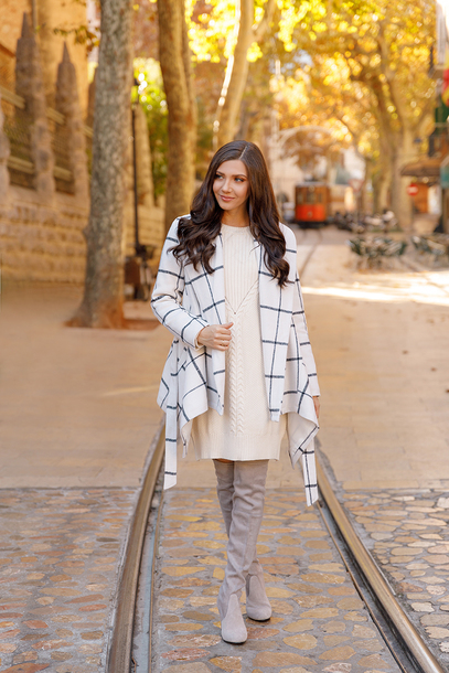 the mysterious girl blogger coat sweater dress shoes sweater dress winter outfits boots grey boots over the knee boots