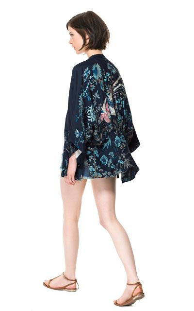 Kimono imprimé oiseau