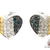 Tri-Color Heart Diamond Earrings Ladies Diamond Stud Earring .925 Silver