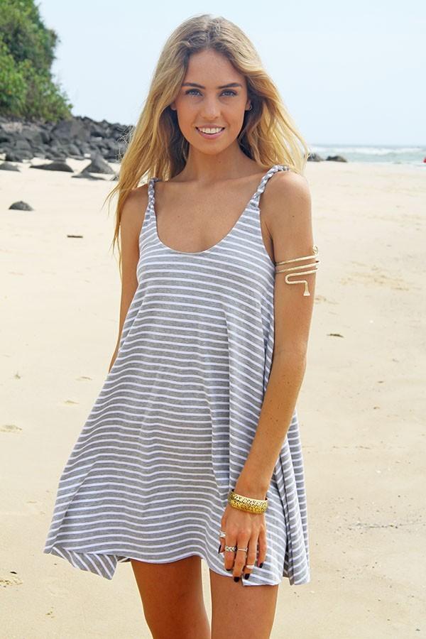 Gray & white haven swing dress