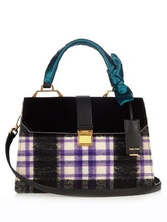 bag shoulder bag leather velvet grey