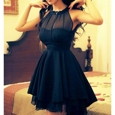 Sweet slim solid color sleeveless irregular hem dress