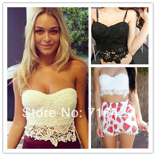 New arrival high street crop top lace bustier 2014 women's bra crop camis fashion vintage fitness camisole free shipping