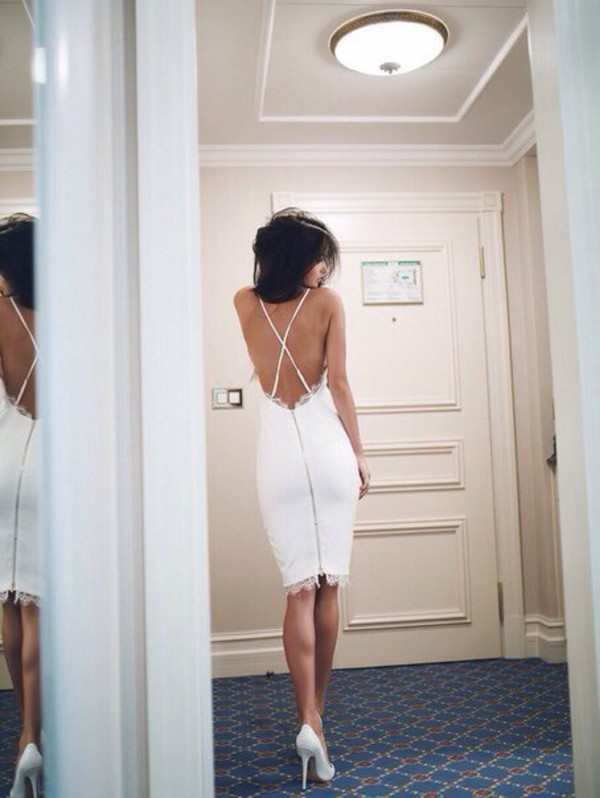 dress white dress white backless dress backless backless prom dress lace lace dress midi dress spaghetti strap spaghetti straps dress