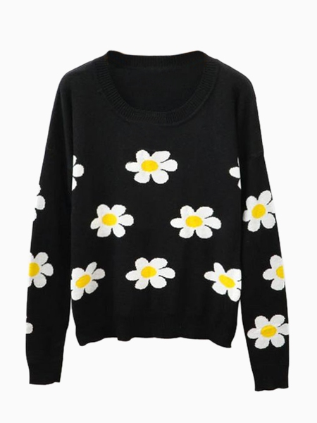 Black Jumper with Sun Flower Pattern | Choies