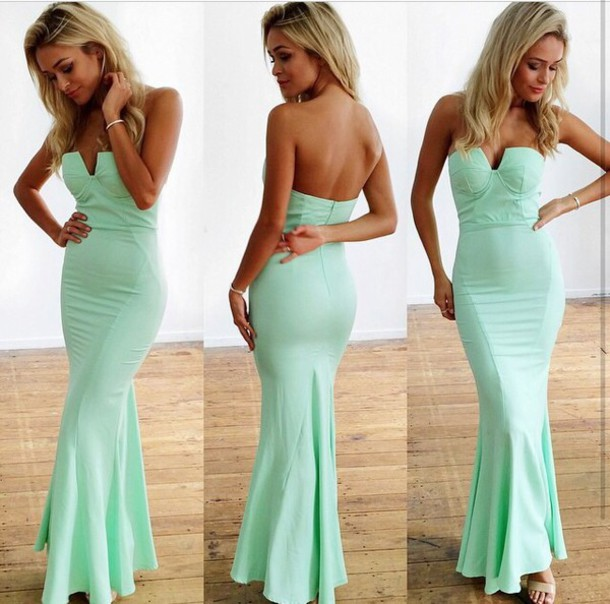 Dress mint mermaid prom dress wheretoget for Mint wedding guest dress