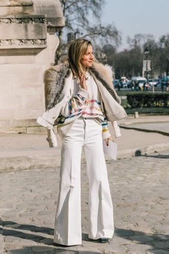 pants white pants sweater white sweater jacket white jacket fur jacket wide-leg pants