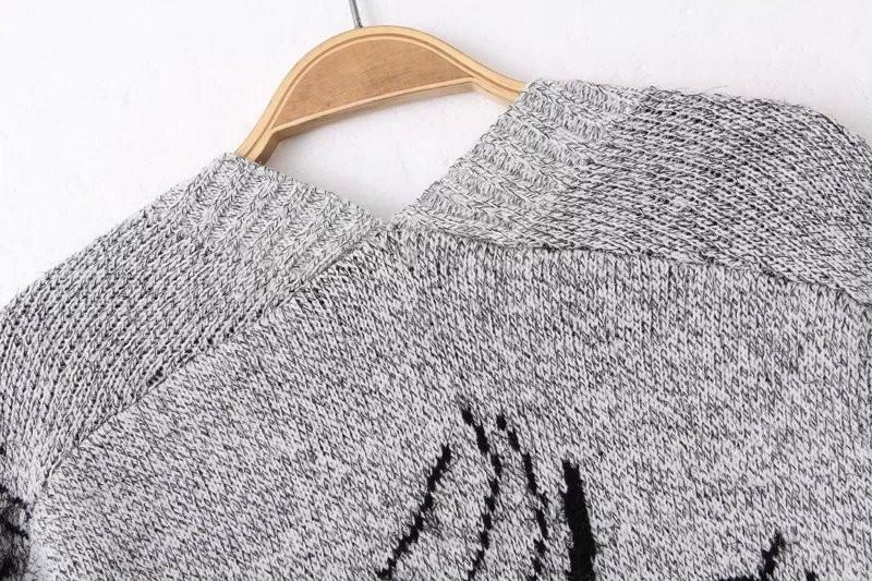 Casual grey long sleeve girl print loose knit cardigan knee