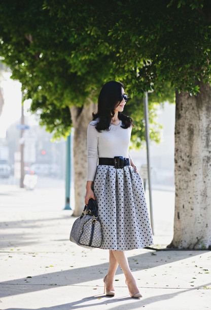 hallie daily blogger belt medium-size belt midi skirt polka dots handbag grey skirt retro Pin up