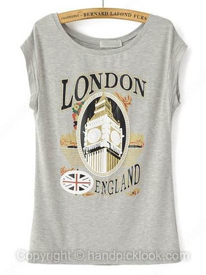 Grey Round Neck Short Sleeve Building & Letters Print T-Shirt - HandpickLook.com