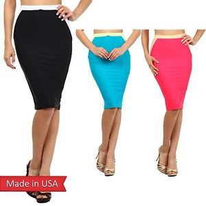 Slim Fitted Colorblock Solid Color Chic Knee Length High Waist Pencil Skirt USA