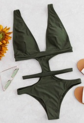 swimwear,olive green,girly,green,one piece swimsuit,one piece,cut-out