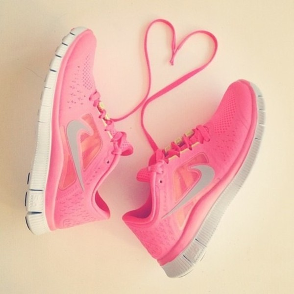 shoes nike nike shoes pink white grey pink shoes trainers heart laces cute блд nike free run nike shoes womens roshe runs sports shoes nike running shoes neon pink neon pink nike free run running beautiful heart running shoes pink nikes pink nike shoes