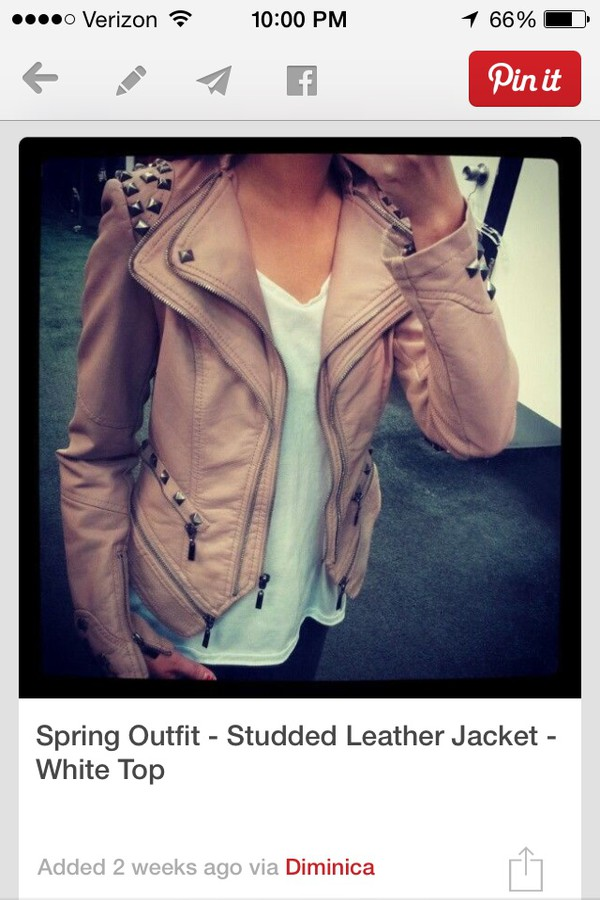 jacket light tan leather with studs