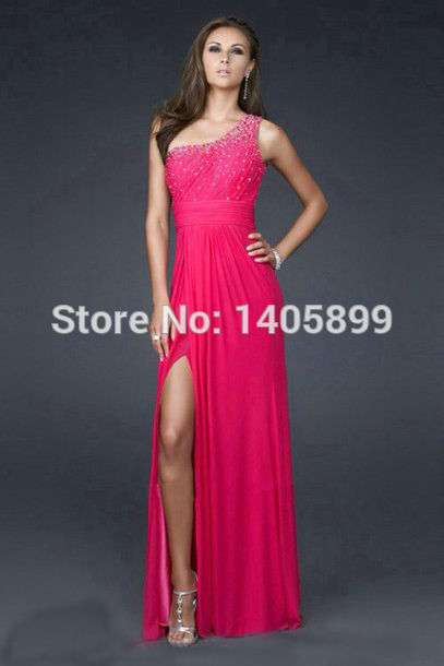Aliexpress.com : buy elegant one shoulder pleat beading natural high slit floor length a line prom dresses evening 2014 gowns vestidos dress party from reliable dress party short suppliers on bridal lover