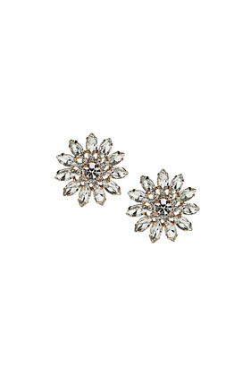 Premium Flower Crystal Earrings - Jewellery  - Bags & Accessories  - Topshop