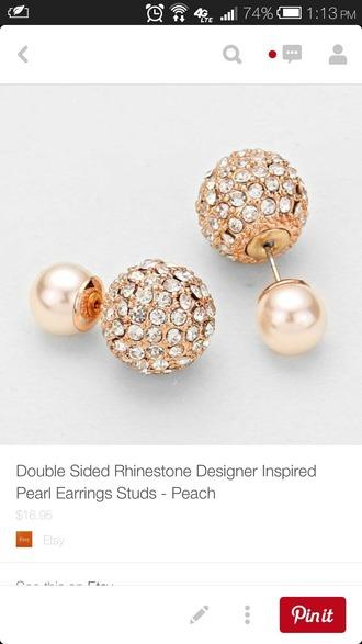 jewels double sided jewelry earrings earrings double sided earrings pearl jewelry 360 earrings front back earrings crystal bling