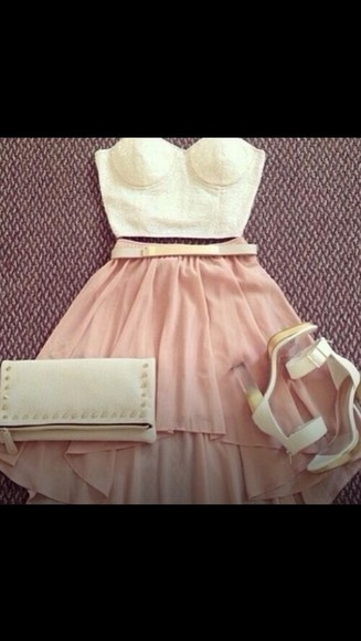skirt light pink belt cream and gold