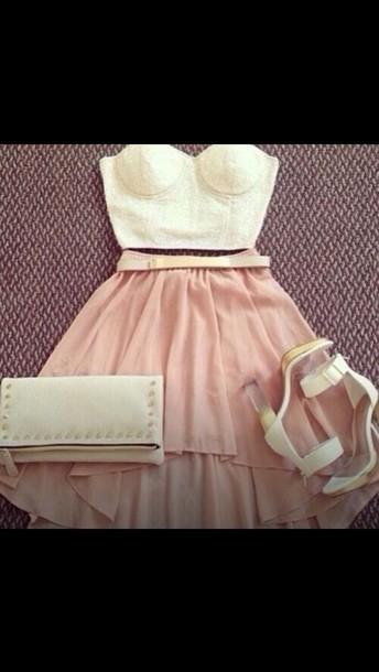 belt cream and gold skirt light pink