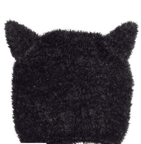 toque cat ears hipster black fluffy