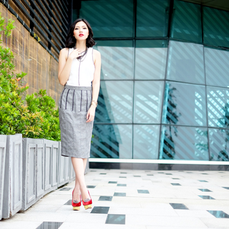 olivia lazuardy blogger top shoes grey skirt office outfits skirt