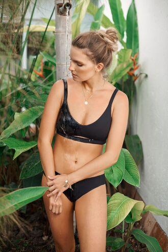 swimwear black bikini cut-out swimwear bikiniluxe bikini top bikini bottoms