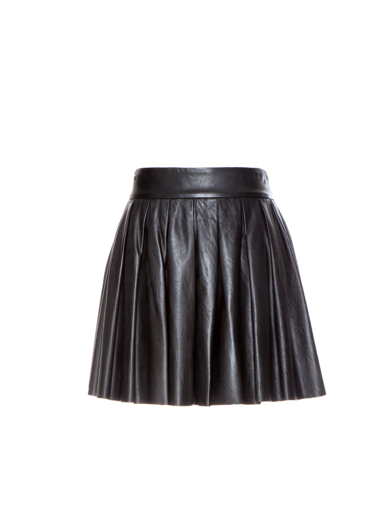 Pleat Leather Mini Skirt