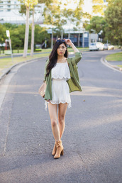 metallic paws,blogger,romper,green jacket,lace romper,beige,nude,boots,sunglasses,summer outfits,spring outfits