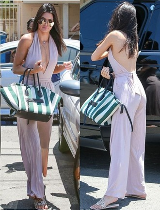 jumpsuit plunge v neck kendall jenner summer outfits sandals jewels necklace jewelry backless gold necklace palazzo jumpsuit backless jumpsuit