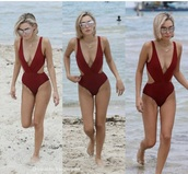 swimwear,sarah snyder,red,cut-out,deep v,one piece swimsuit