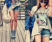 shirt,clothes,shorts,high heels,print,t-shirt,boots,pretty,shoes,blue,blue shoes,peep toe,laces,chill,summer,long legs,light blue,open toes,heels,top