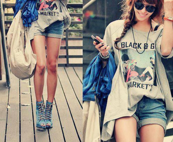 shirt clothes shorts high heels print t-shirt boots pretty shoes blue blue shoes peep toe laces chill summer long legs light blue open toes heels top