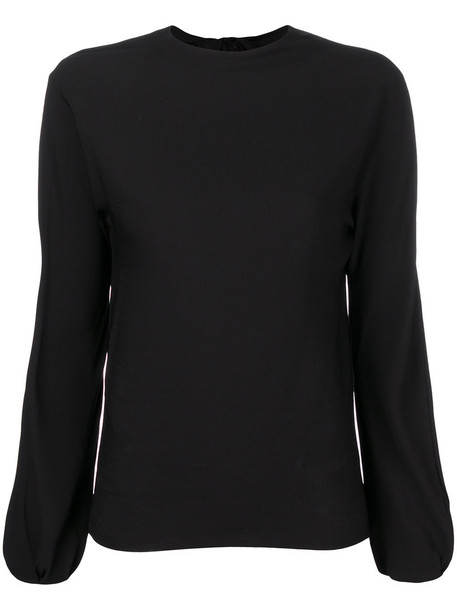 Helmut Lang - low tie back blouse - women - Polyester/Spandex/Elastane/Viscose - M, Black, Polyester/Spandex/Elastane/Viscose